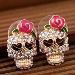 NIB•Rhinestone Sugar Skull post earrings